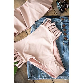 Strappy Side High Rise Bathing Suit Bottom, Blush