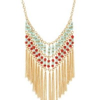 Beaded Fringe Statement Necklace by Charlotte Russe - Multi