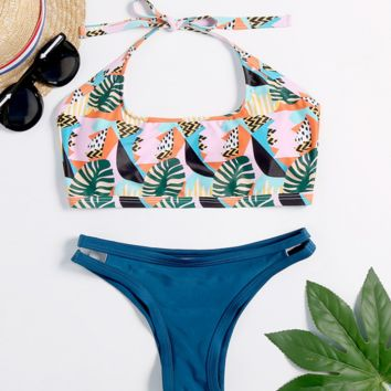 Sexy Split Leaf Print Triangle Beach Bikini [1410566029348]