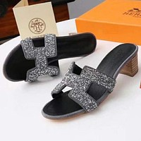 "Hermes Popular Women Personality ""H"" Letter Heels Shoes Sandals Slippers Grey I"