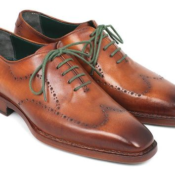 Paul Parkman Men's Wingtip Oxford Goodyear Welted Camel Brown Shoes (ID#87CML66)