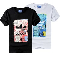 """""""Adidas"""" Unisex Fashion Casual Clover Letter Pattern Print Short Sleeve T-shirt Couple"""