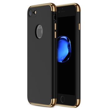iPhone 7 Case RANVOO 3-in-1 Stylish Thin Hard Slim Fit Case with 3 Detachable Parts for Apple iPhone 7 Only, CHROME GOLD and MATTE BLACK, [CLIP-ON]