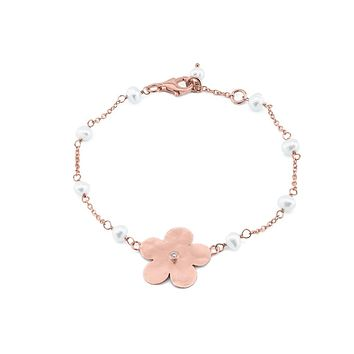 Hammered Rose Gold Plated Sterling Silver Flower of Life & Pearls Chain Bracelet, 6.5""