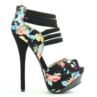 Count High #Heel #pumps #shoes with black floral and peep toe style