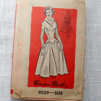 Vintage 1950s Marian Martin 9332 pattern drop waist Dress 1950s Rockabilly Pinup Bust 34 June Cleaver