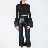 Black Leather Crop Flared Pants