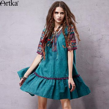 ARTKA 2018 Women's Summer Bohemian Printed Loose Style Tassels Dress Vintage V-neck Short Sleeve Cotton and Linen Dress LA15057X