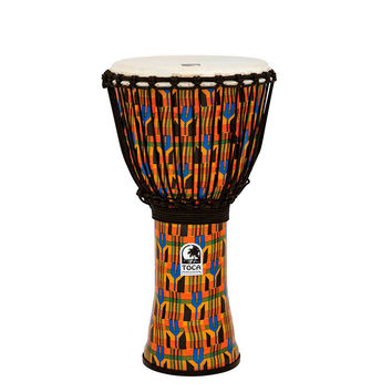 "Toca Freestyle Rope Tuned 12"" Djembe in Kente Cloth"