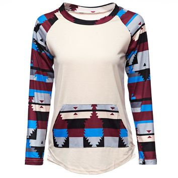 Casual Round Collar Long Sleeve Color Matching Pocket Design Women's T-Shirt