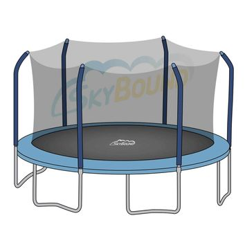 SkyBound 15 x 17 Foot Oval Trampoline Net - Fits 15 x 17 Foot Oval Frames with 6 Straight-Curved Enclosure Poles