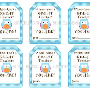 Whooo's a Great Teacher Printable Teacher Tags