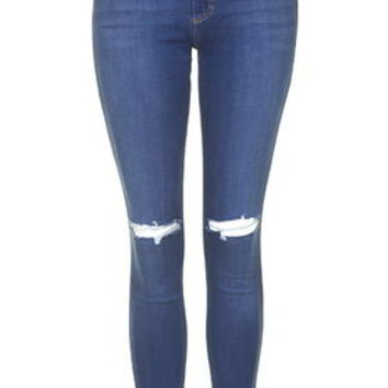 MOTO Mid-Blue Ripped Leigh Jeans - Mid Stone