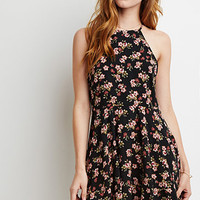 Lace-Paneled Floral Print Dress