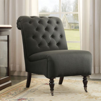 Linon Cora Charcoal Roll Back Tufted Chair