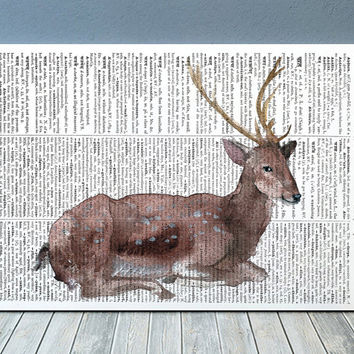 Deer print Dictionary art Wildlife poster Animal print RTA2147