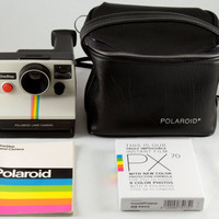 Polaroid SX-70 One Step White Rainbow Stripe Instant Land Camera Tested w/ Impossible Project PX 70 Color Protection Film & Black Camera Bag