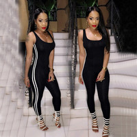 2016 New Fashion Black Women Sport Jumpsuit Sexy Elastic Bandage Bodycon Bodysuit Skinny Romper Running Fitness Overalls