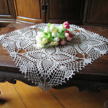 Crochet Square Lace Table Cloth Linen / Ecru Table Topper Shabby Chic Covering Flower Motifs Bridal Shower Gift