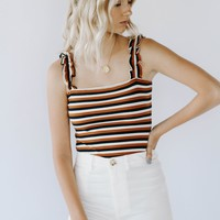 Rust Stripe Ruffle Bodysuit