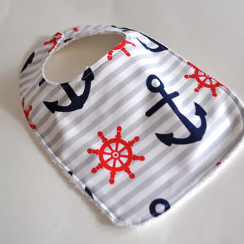 Baby bib, Anchor baby bib, Nautical Baby bib,  anchor bib, nautical bib, pirate bib, boat bib, boat baby bib, Baby gift for new mom
