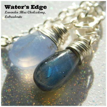 Lavender Blue Chalcedony and Labradorite Necklace * Double Gemstone Necklace * Classy Blue Gemstones * Water's Edge * Lovely Labradorite