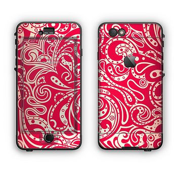 The Red Floral Paisley Pattern Apple iPhone 6 LifeProof Nuud Case Skin Set