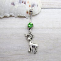 Antique silver cute deer belly button ring ,deer navel piercing, friendship belly button ring,belly button piercing ,unique gift