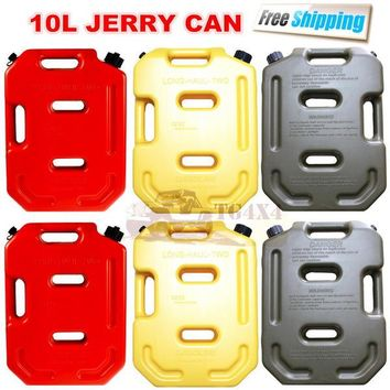 10Litre Red Jerrycan Plastic Fuel Tank Spare Petrol Oil Jerry Can Car Motorcycle Atv Suv Utv Gasoline Storage Tanks Jerri Cans
