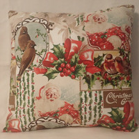 Decorative Pillow Cover, Christmas Pillow Cover, Holiday Decor, Santa Claus, Birds, 16 x16 Pillow Cover, Christmas Greetings, Holly, Winter