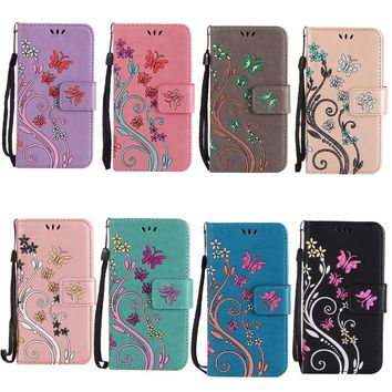 For Huawei Y3 II Y5 II Case Coloured Drawing Pattern Embossed Butterfly Leather Wallet  Flip Stand Cover Mobile Phone Shell