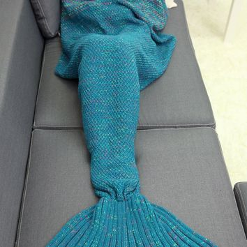 Winter Home Decor Crochet Yarn Mermaid Blanket Throw