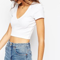 ASOS Crop Top in Rib with Short Sleeves and V Neck