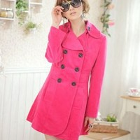 High Quality Long Wholesale Rose Red Coats With Double-Breasted