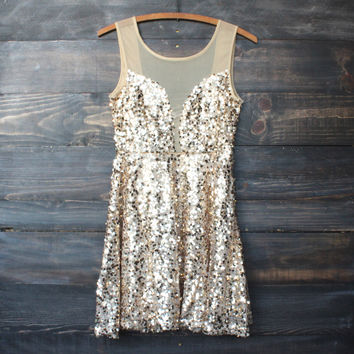 midnight rendezvous gold sequin party dress