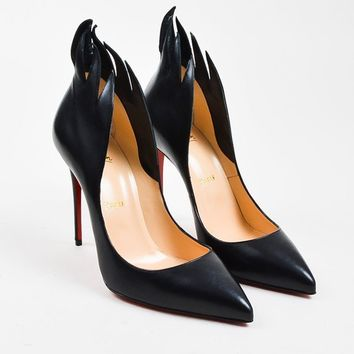 KU-YOU Christian Louboutin Black Leather  Victorina  100mm Stiletto Pumps