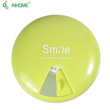 Round Outdoor Travel Pill Cases Portable 7-Day Rotating Medicine Green Box Tablet Dispenser Storage Container Cute Candy Color