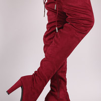 Suede Drawstring-Tie Thick Heeled Over-The-Knee Boots