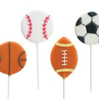Sports Shaped Lollipops, 8 Cute Sports Shaped Pops: Basketball, Baseball, Football, and Soccerball. Two Great Flavors: Toasted Marshmallow, Caramel, Fun for Parties, Great for Birthdays, After Kids Games, or Gift Giving Fun, Fully Edible, Made in the USA