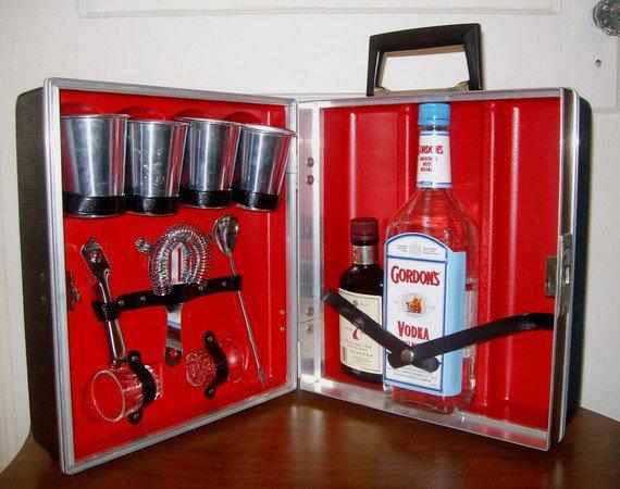 Vintage Portable Travel Bar Set Red Interior and by LucillesAttic