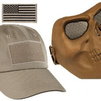 Ultimate Arms Gear Tactical Tan Combo Includes Operator's Military Baseball Cap Hat With US Flag Patch &Full Protecive Death Skull Skeleton Adjustable Face Protective Mask For Paintball & Airsoft Scenario