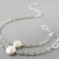 Silver Glasses Chain with Creamy White Pearl Coins