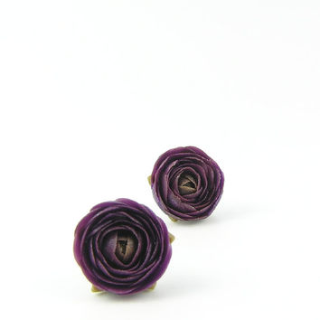 Dark purple polymer clay stud earrings - polymer clay jewelry - post earrings - floral earrings