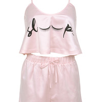 Clothing : Nightwear : 'Sleep' Baby Pink Cami Shorties Set
