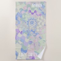 Lazy Dayzy Colorful Abstract with Your Name Beach Towel