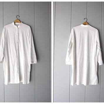 90s Cotton Shirt Dress White Minimal Long Button Front Tunic Top Dress Modern Street Style Slouchy Shirtdress Womens Large