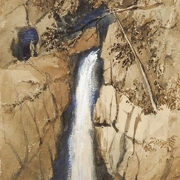 Waterfall Yorkshire England Gouache Painting