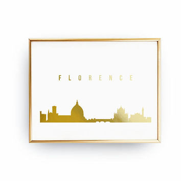 Florence Print, Florence Skyline, Florence Cityscape, Skyline Art, Real Gold Foil Print, Home Decor, Italy Skyline, Gold Italy Print, 8x10