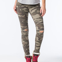 Vanilla Star Premium Womens Camo Destructed Skinny Jeans Camo  In Sizes