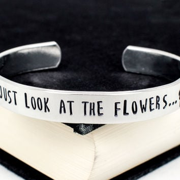 Just Look at the Flowers - The Walking Dead - Zombie -  Adjustable Aluminum Bracelet